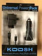 KOOSH Universal Power Pack  Wall Charger, Car Charger and USB Cable.