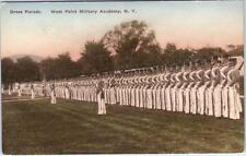 West Point Military Academy, New York Ny Handcolored Dress Parade Postcard