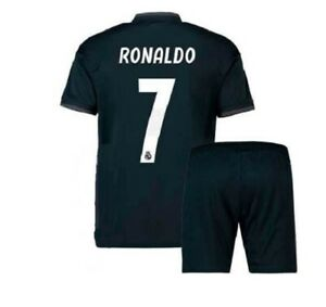 Ronaldo Real Madrid Kids Black Jersey + Shorts Set Youth Large 10 - 11 Years