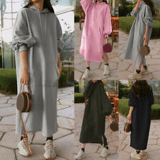 ZANZEA 8-24 Women Long Sleeve Maxi Kafta Abaya Fleece Sweatshirt Jumper Dress