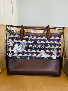 NWT Kate Spade Large Clear Triple Compartment Large Tote Shopper Bag Bird Dot's
