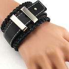 Gothic Punk Men's Boy Buckle Belt Leather Bracelet Bangle Cuff Wristband Jewelry