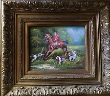 English or French Country Original Framed Oil Painting -Fox Hunt, Horse, Dogs