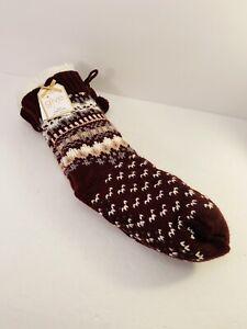 Womens Multicolor Fairisle Sherpa Lined Grippers Slipper Socks One Size