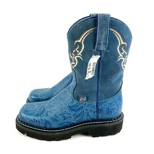 Justin Cowboy Boots 6 Blue Tooled Leather Suede Embroidered Slip On Brand New
