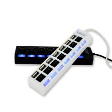 7 Ports Hub USB 2.0 Adapter Splitter Socket High Speed LED Switch for Computer