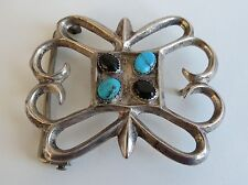"""Night Day earth sky turquoise onyx  Navajo sand cast sterling 2""""  belt buckle"""