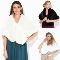 Women Faux Fur Wrap Shrug Shawl Cape Winter Evening Bridal Stole Coat Scarf