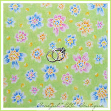BonEful Fabric FQ Cotton Quilt Flower Dot Yellow Green Pink Blue White Button US