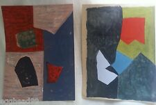 2 SERGE POLIAKOFF Plate Signed Original Lithograph Print 50s Abstract MODERN ART