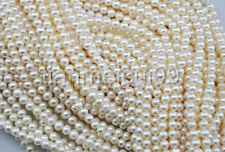 """4-5mm White Natural Real Freshwater Pearl loose Beads strands 15"""" AAA+++"""