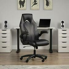High Back Racing Style Bonded Leather Gaming Chair Upholstered Gray Color Design