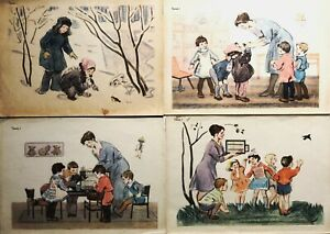 Posters Set 4 pcs Children and Bird Russian Illustration 1950s