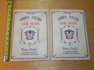 2 UNUSED Vintage NAVY WW II Air Mail Stationary Set WW2 30 Envelopes 60 sheets