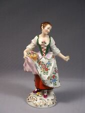 ANTIQUE Sitzendorf Dresden Porcelain Figurine Girl with Flowers Germany LARGE