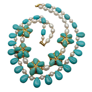 "18""-21"" 2 Strands Cultured White Rice Pearl Blue Turquoise Flower Necklace Gift"