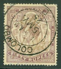 SG 320 Ceylon 1912-25. 50r dull purple. Fine used with a Colombo CDS
