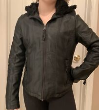 Black Full Zip. Fleece & Lined Motorcycle Biker Jacket w. hoodie. Womens Medium.