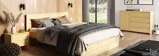 Schlafzimmer 3tlg. Set Echtes Holz Bett mit 2x Nachttische 180x200cm Massivholz