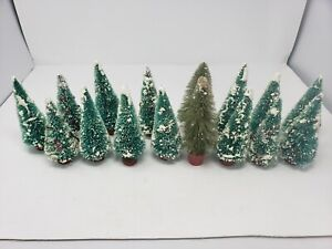 Lot of 16 Small Christmas Snowy Artificial Pine Tree House Decorations 6-7 in