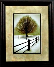 "Solitude By David Lorenz Winston Tree Snow Landscape Print Framed 13.5"" x 16.5"""