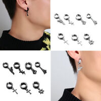 Men Women Stainless Steel Cross Dangle Hoop Clip on Earrings Non-Piercing~