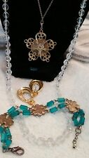 JEWELRY SET/LOT VINTAGE NECKLACES PLASTIC  EARRINGS BRACELET ROSES GOLD TONE mar