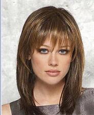 New Fashion Style Charm Medium long women's Brown Blonde Natural Hair Full wigs