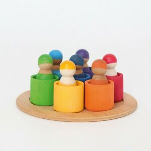 Grimms 10580 Regenbogenbande 7 Freunde in Schälchen aus Holz Ab 1 Jahr + BONUS