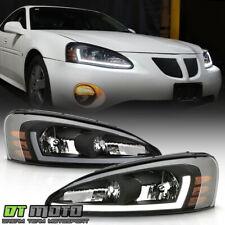 2004-2008 Pontiac Grand Prix Black LED Tube Headlights Headlamps Pair Left+Right
