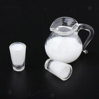 Glass Milk Kettle Cups Model 1/12 Dollhouse Miniature Decor Accessories