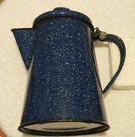 Colman Blue & White Speckled Enamel Camping Coffee Pot = Pre-Owned