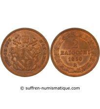 VATICAN, PIUS IX - 2 BAIOCCHI 1850 ROME