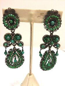 Federico Oaxaca Turquoise Dangle Clip Earrings