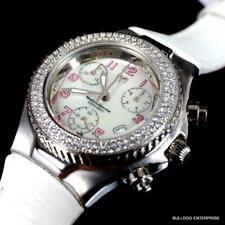 Donna TechnoMarine 128 Diamanti Svizzero Made Chrono Bianco Pelle Nuovo Orologio