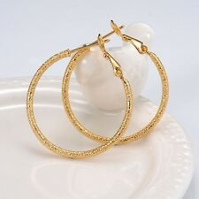 18k Yellow Gold Filled Carved Earrings 2mm Women's ring Hoop 30MM GF Jewelry hot
