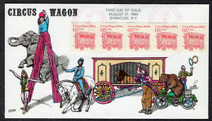 1990 05c 1900s Circus Wagon Coi Strip/5 (2452) - Collins Hand Painted FDC QH227