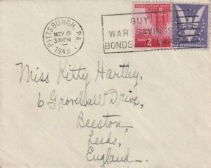 1943 USA cover sent from Pittsburgh PA to Leeds England