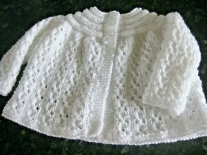 """LOVELY HAND KNITTED MATINEE COAT (0-3 months)WHITE 18"""" Chest"""