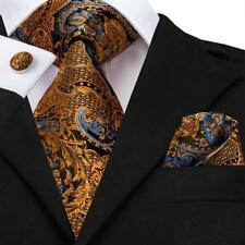 USA Yellow Paisley Mens Tie Necktie Silk Jacquard Woven Set Wedding Party Luxury