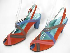 THIERRY RABOTIN BURNT ORANGE BLUE SUEDE PEEP TOE SLINGBACKS SHOES WOMEN'S 37.5