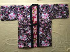 Japanese Hanten Kimono Jacket (M)Reversible Warm Room Wear camellia Peony JAPAN