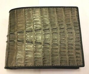 GENUINE CROCODILE ALLIGATOR WALLETS SKIN LEATHER TAIL BIFOLD GRAY MEN'S WALLETS