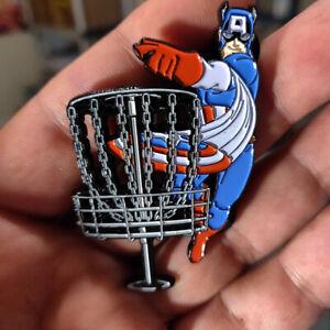 "Disc Golf - NEW 2"" metal Bag, hat, lapel pin - Captain America Disc Golf"