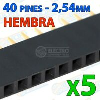 Tira 40 pines 2,54mm simple HEMBRA NEGRO – row single soldar - Lote 5 unidades -
