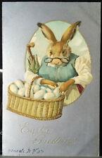 GRANDMOTHER BUNNY, BASKET OF EGGS, Metallic Easter Post Card 1907 Umbrella Specs