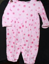s1 CARTERS long overall corduroy pink hearts flowers clip crutch