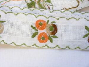 Vintage Floral Embroidered Ribbon Trim 1.5 inch Wide Border Edging 1-3/4Yds