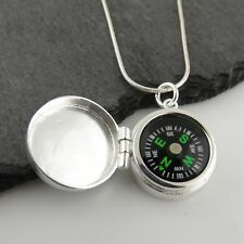Working Compass Locket Necklace - 925 Sterling Silver - Pendant Graduation Gift