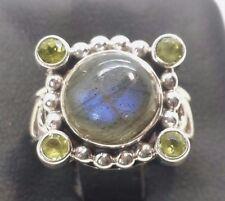 Vintage Moonstone Peridot Green Sterling Silver 925 Ring 7g Sz.6 BC241